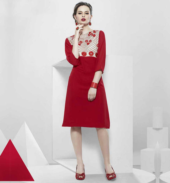 LATEST KURTI NECK DESIGNS FOR GIRLS 2015 INDIAN DRESSES ONLINE THIS BEAUTIFUL KURTI HAS RED COLOR FLORAL EMBROIDERY WORK AT NECK LINE