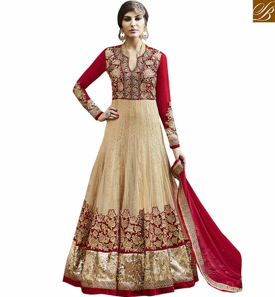 STYLISH BAZAAR MAGNIFICENT HEAVILY DESIGNED ANARKALI PUNJABI DRESS SUIT ONLINE VDSKN10268