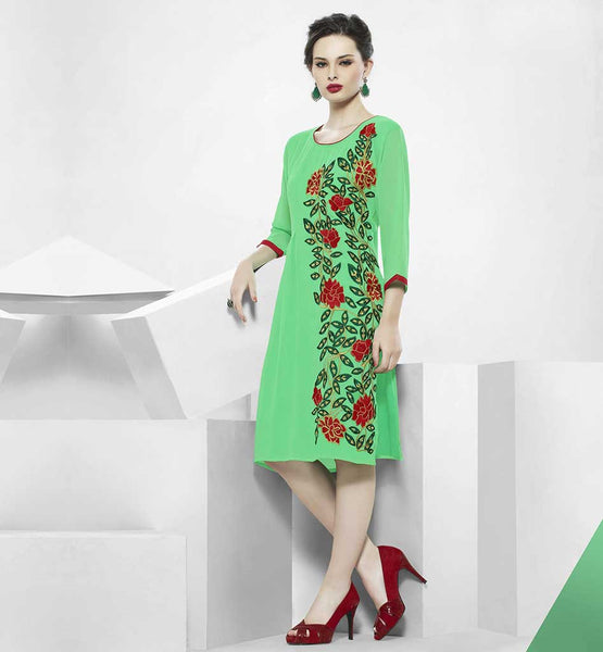 LATEST DESIGNER KURTIS OF NEW STYLES PATTERN ONLINE SHOPPING GREEN GEORGETTE KURTI HAS RED & GREEN COLOR FLORAL EMBROIDERY WORK AT ONE SIDE
