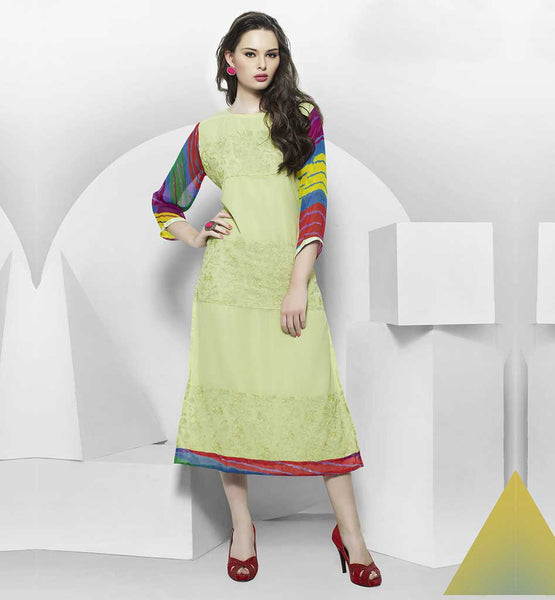 LATEST DESIGNER KURTIS 2015 STYLISH DESIGNER WEAR LIRIL GREEN GEORGETTE TOP WITH ATTACHED SANTOON INNER. SMART PRINTED SLEEVE DESIGNS ADDS MORE GLAMOUR
