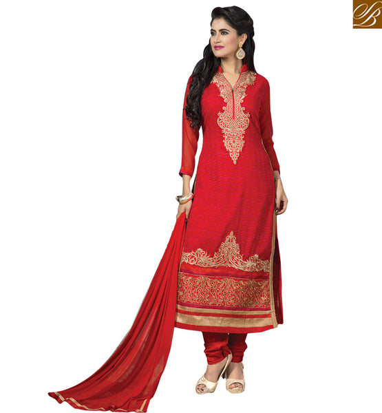 STYLISH BAZAAR PRESENTS AMAZING RED DESIGNER SALWAR KAMEEZ FOR SPECIAL OCCASIONS RTFIB1029