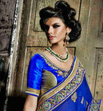 COOL COLOR COMBINATION BEIGE AND BLUE WEDDING WEAR SAREE BLOUSE DESIGN
