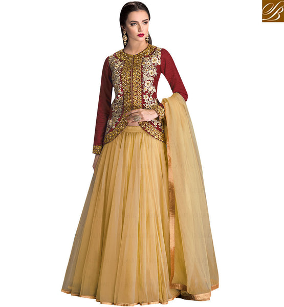 STYLISH BAZAAR DAZZLING RED COLORED DESIGNER LEHENGA WITH FLORAL WORK SLGLZ102