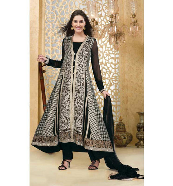 FULL LENGTH DESIGNER BLACK GEORGETTE SALWAR KAMEEZ RTAT102 - STYLISHBAZAAR - Designer Party Wear Salwar Kameez, Salwar kameez for Parties, Partywear Salwar Kameez, Anakali suits, Designer Anarkali Suits, Partywear Anarkalis, Zariwork Salwar Suits, Stone Work Salwar Kameez,
