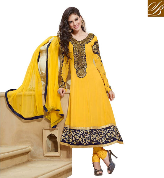 YELLOW HANDWORK PURE GEORGETTE ANARKALI SALWAR KAMEEZ