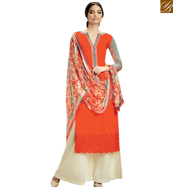 STYLISH BAZAAR CAPTIVATING ORANGE COLOR COTTON PLAZZO SALWAR KAMEEZ WITH MULTI COLOR PRINTED DUPATTA KMV102