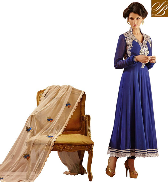 BEAUTIFUL BLUE GEORGETTE SALWAR KAMEEZ LTNS102 - STYLISHBAZAAR - DESIGNER SALWAR SUITS - EYE-CATCHING GEORGETTE SUITS - Anarkali suits online shopping, Anarkali dresses online shopping, Churidar Anarkali online shopping, online shopping anarkali suit, anarkali suits shopping online