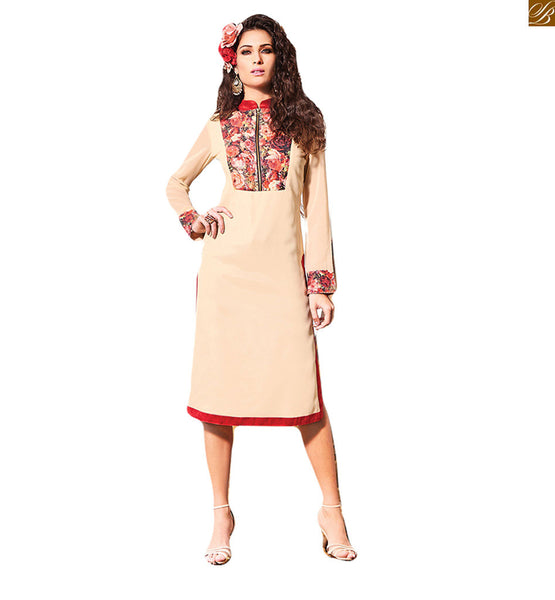STYLISH BAZAAR DESIGNER KNEE LENGTH CREAM KURTI DESIGN RTVIN102