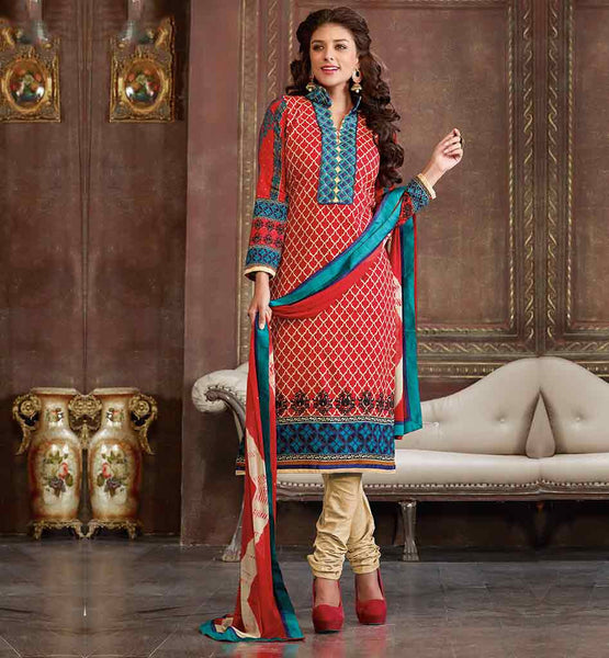 COTTON PARTY WEAR SALWAR SUIT DRESS MATERIAL WITH PRINTED DUPATTA