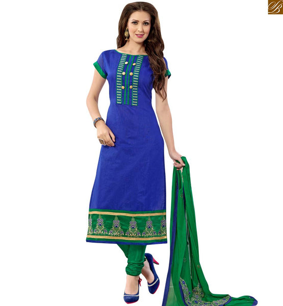 Blue colored chanderi salwar kameez with green dupatta blue chanderi boat neck design with piping at this casual wear salwar kameez for indian woman Image