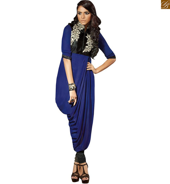 Designer long kurtis online ethnic wear for fashionable ladies blue faux-georgette heavy embroidered kurti with short border line sleeves and high-neck design iMAGE