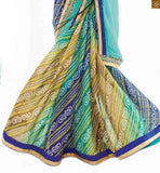 Half saree collections with designer blouses models online shopping sky blue and blue georgette and chiffon new collection printed saree with blue designer art silk blouse