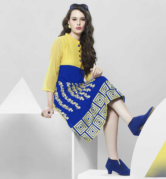 LATEST PARTY WEAR DESIGNER KURTIS FOR GIRLS ONLINE SHOPPING ELEGANT YELLOW AND BLUE GEORGETTE KURTI WITH ATTACHED SANTOON INNER AND SUPERB EMBROIDERY WORK