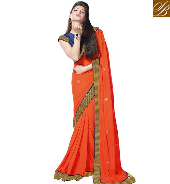 JACQUELINE FERNANDEZ SAREE AT DISCOUNTED RATES ORANGE SARI THE RICH BORDER AND BLUE BLOUSE