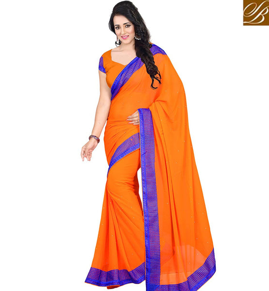 STYLISH BAZAAR LOVELY DESIGNER ORANGE SAREE WITH BORDER VDJAI10306