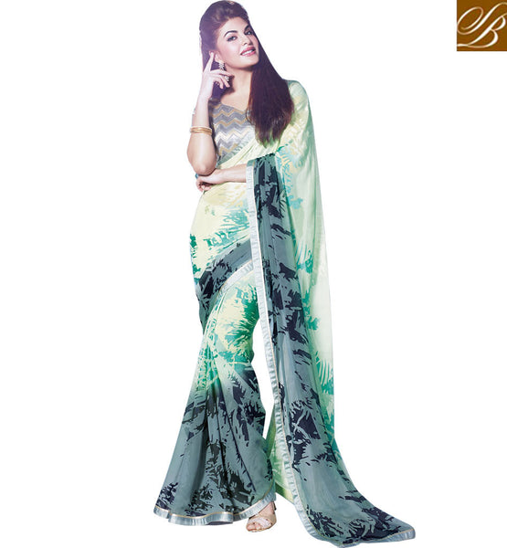 JACQUELINE FERNANDEZ SAREE ONLINE DISCOUNTED RATE PRINTED GREY PARTY WEAR SAREE WITH BLOUSE