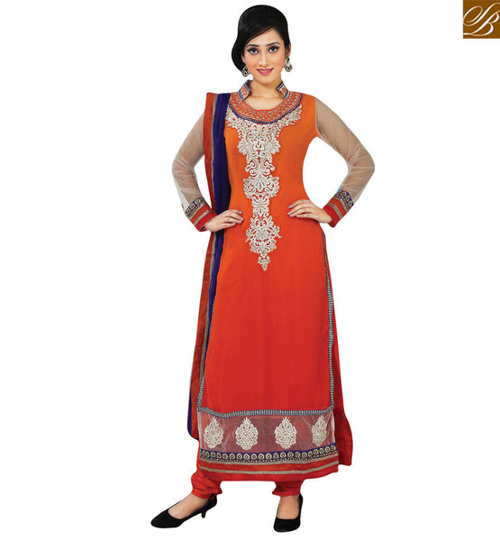 STYLISH BAZAAR INTRODUCES WONDERFUL ORANGE DESIGNER SUIT FOR WOMEN RTFIB1030