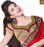 RED PARTY WEAR SARI WITH CONTRAST BLACK BLOUSE BOLLYWOOD ORIGINAL COLLECTION GEORGETTE SARI WITH DUPION CHOLI