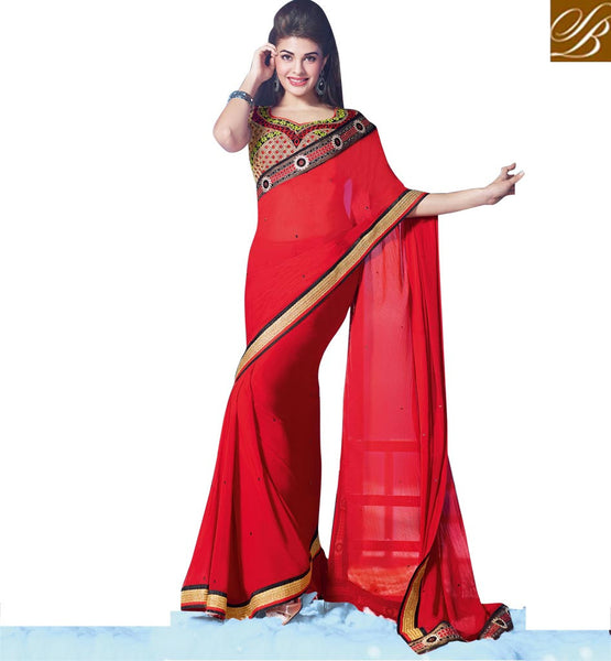 SRILANKAN BEAUTY JACQUELINE FERNANDEZ HOT SARI RED PARTY WEAR SARI WITH CONTRAST BLACK BLOUSE
