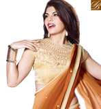 BROWN PARTY WEAR SAREE WITH OFF WHITE BLOUSE CELEBRITY INSPIRED CHIFFON SARI WITH DUPION BLOUSE
