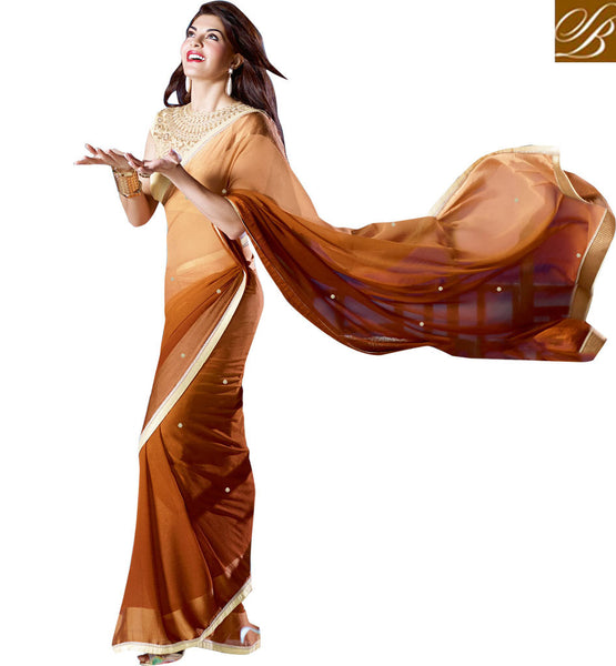 DISCOUNT ON JACQUELINE FERNANDEZ SARI BLOUSE BROWN PARTY WEAR SAREE WITH OFF WHITE BLOUSE