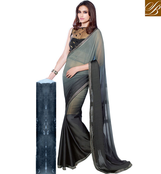 DESIGNER SAREES ONLINE SALE CASH ON DELIVERY BLACK AND GREY PARTY WEAR SARI WITH BLACK BLOUSE