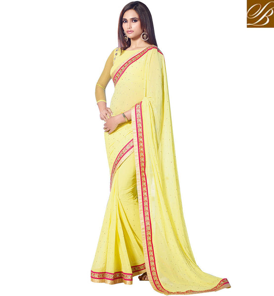 DESIGNER SAREES WITH BLOUSE AT LOWEST PRICE PASTEL YELLOW PARTY WEAR SAREE WITH MATCHING BLOUSE