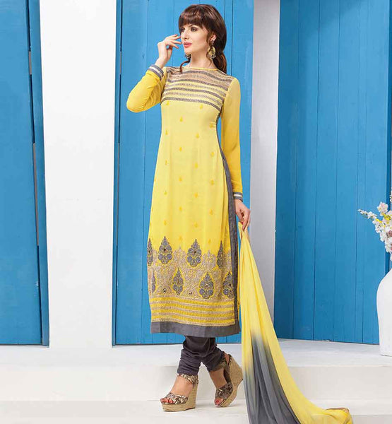 LATEST DESIGN PARTY WEAR SALWAR KAMEEZ DUPATTA  SUPERB YELLOW GEORGETTE SUIT WITH CONTRAST GREY SALWAR AND SHADED DUPATTA