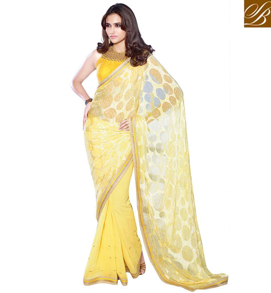 SAHIBA DESIGNER PARTY SAREES COLLECTION ONLINE YELLOW DESIGNER PARTY WEAR SARI WITH MATCHING BLOUSE
