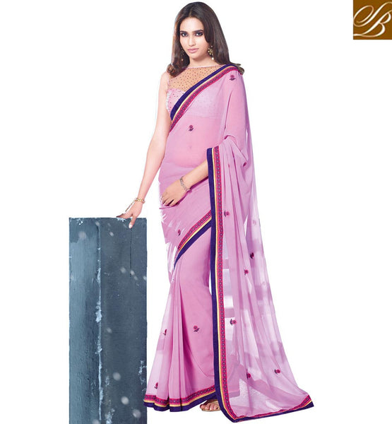 BUY DESIGNER SAREE BLOUSE AT DISCOUNTED PRICES  SUPERB PASTEL PINK PARTY WEAR SARI WITH MATCHING BLOUSE