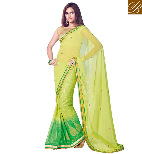 DESIGNER SAREE & BLOUSE FOR WEDDING PARTY DUAL COLOR, YELLOW AND GREEN SARI WITH CONTRAST CHIKOO BLOUSE