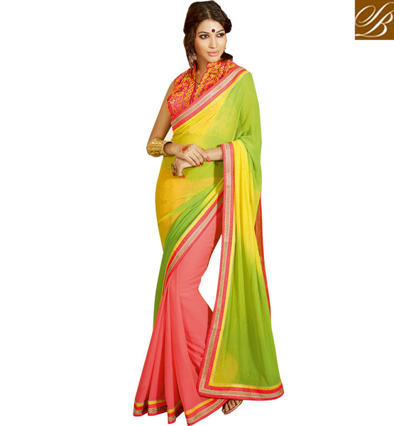 DESIGNER SHADED GEORGETTE PARTY WEAR SAREE GREEN, YELLOW AND CORAL PARTY WEAR SARI WITH CORAL BLOUSE