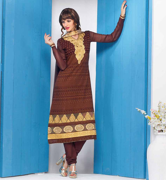 LATEST 2015 SHALWAR KAMEEZ DESIGN FOR FEMALE  IRRESISTIBLE COFFEE PARTY WEAR GEORGETTE KURTI WITH MATCHING SALWAR AND CHIFFON DUPATTA