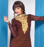 IRRESISTIBLE COFFEE PARTY WEAR GEORGETTE KURTI WITH MATCHING SALWAR AND CHIFFON DUPATTA ROCK THE PARTY BY WEARING THIS DESIGNER OUTFIT HAVING FULL OVERALL EMBROIDERY AND STUNNING NECKLINE AND BOTTOM PORTION