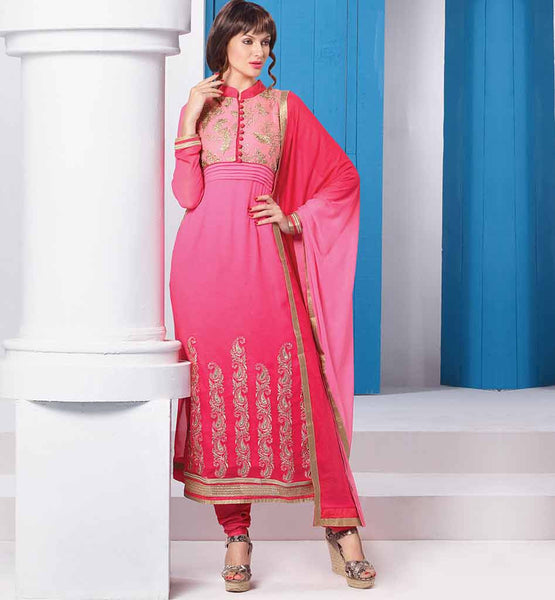 LATEST PAKISTANI STYLE SALWAR KAMEEZ DESIGNS  EXCITING PINK SHADED PARTY WEAR GEORGETTE SUIT WITH SANTOON SALWAR AND CHIFFON DUPATTA