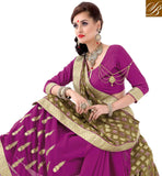FROM STYLISH BAZAAR DAZZLING PINK EMBROIDERED SAREE WITH MEHENDI PALLU VDSYH10347