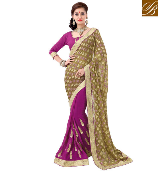 STYLISH BAZAAR DAZZLING PINK EMBROIDERED SAREE WITH MEHENDI PALLU VDSYH10347
