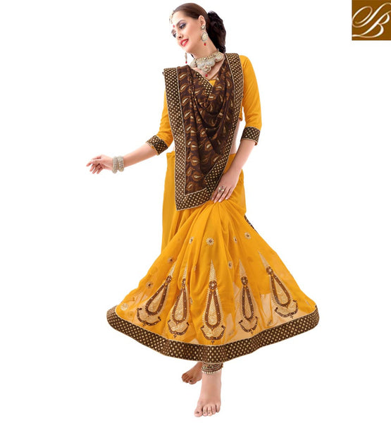 STYLISH BAZAAR GOOD LOCKING YELLOW EMBROIDERED DESIGNER SAREE VDSYH10348