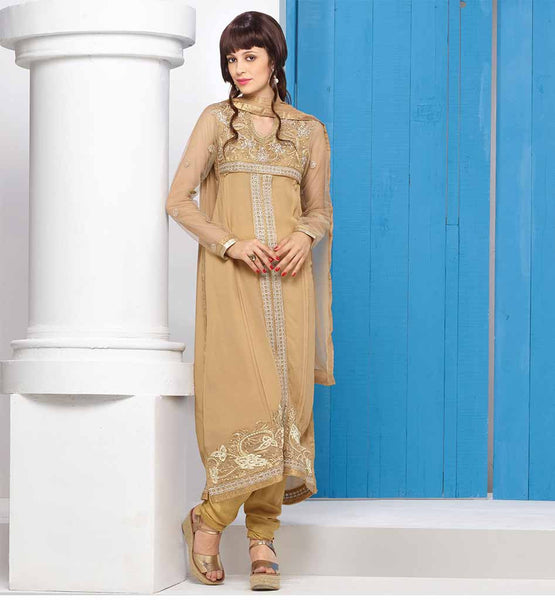 LADIES SALWAR KAMEEZ DESIGNS LATEST FASHION  AWESOME GEORGETTE CREAM DESIGNER SUIT WITH MATCHING SALWAR AND CHIFFON ODHNI