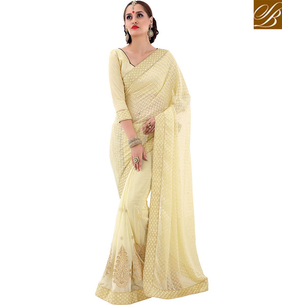 STYLISH BAZAAR GORGEOUS CREAM EMBROIDERED HALF N HALF SAREE VDSYH10350