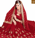 FROM STYLISH BAZAAR GLAMROUS RED EMBROIDERD SAREE WITH COMPLETE DESIGNER PALLU VDSYH10351