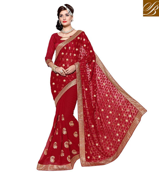 STYLISH BAZAAR GLAMROUS RED EMBROIDERD SAREE WITH COMPLETE DESIGNER PALLU VDSYH10351
