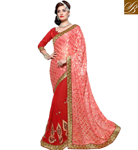 STYLISH BAZAAR MAJESTIC RED DESIGNER SAREE WITH PEACH DESIGNED PALLU VDSYH10352