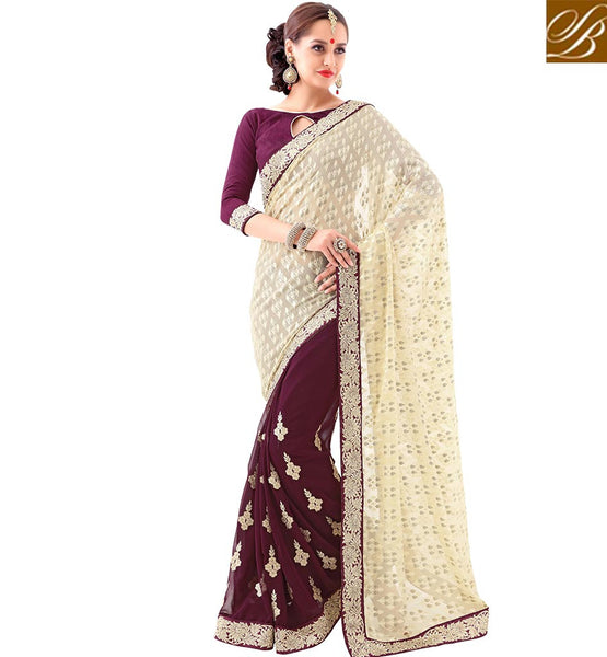 STYLISH BAZAAR ATTRACTIVE DESIGNED HALF N HALF EMBROIDERED SAREE VDSYH10353