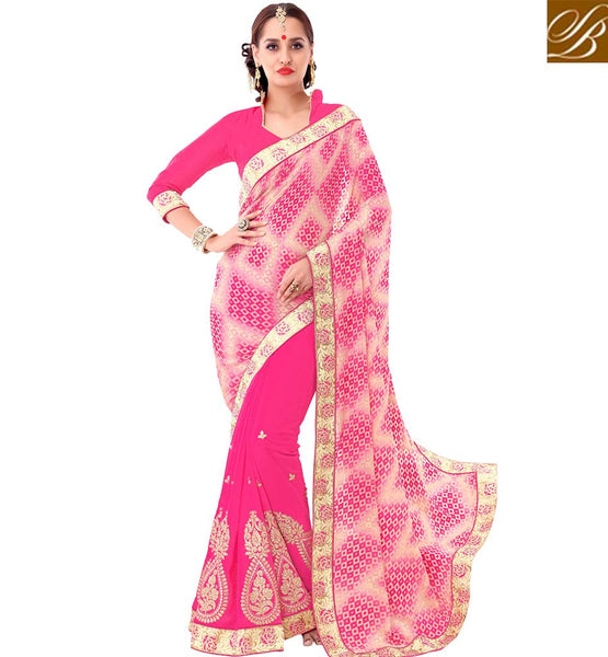 STYLISH BAZAAR PREMIUM DESIGNED PINK EMBROIDERED SAREE SAREE WITH DESIGNER PALLU VDSYH10354