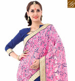 FROM STYLISH BAZAAR FASCINATING BLUE & PINK DESIGNER HALF N HALF SAREE VDSYH10355