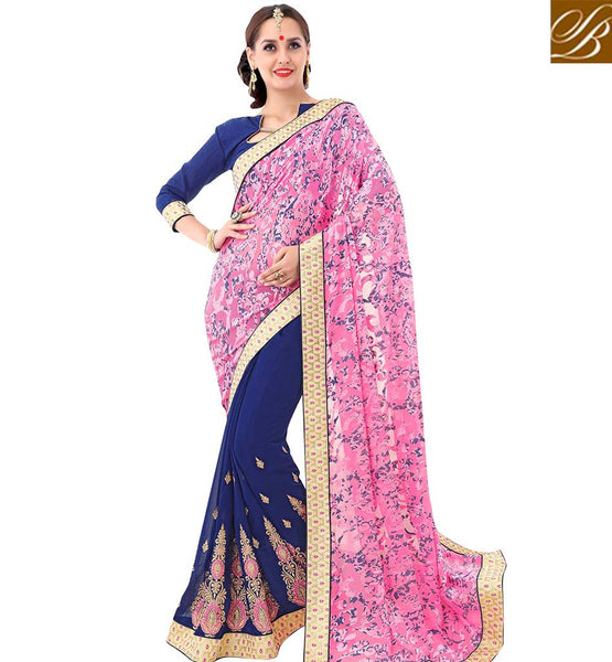 STYLISH BAZAAR FASCINATING BLUE & PINK DESIGNER HALF N HALF SAREE VDSYH10355