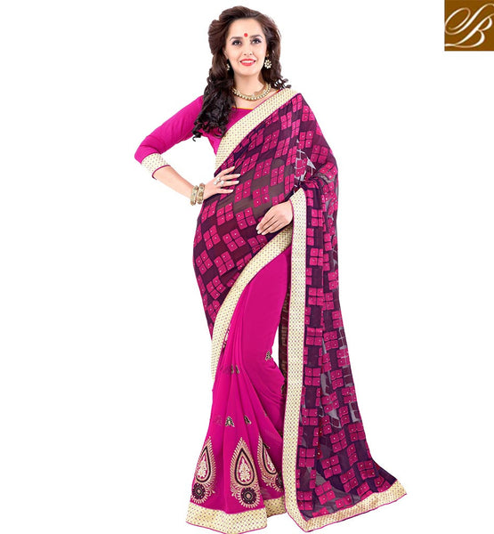 STYLISH BAZAAR PINK & BLACK EMBROIDERED SAREE WITH MARVELOUS PALLU VDSYH10356