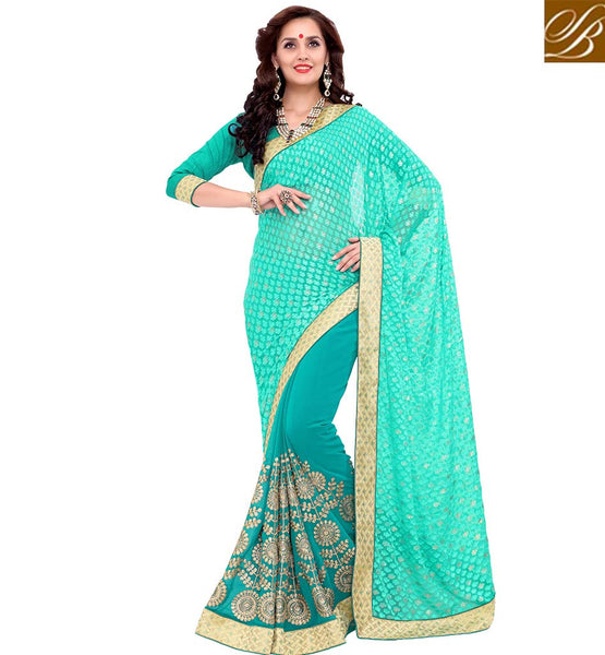 STYLISH BAZAAR REMARKABLE SEA GREEN WELL DESIGNED DESIGNER SAREE VDSYH10357