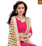 FROM HOUSE OF STYLISH BAZAAR PINK AND GREEN DESIGNER SAREE WITH WELL DESIGNED PALLU VDSYH10358
